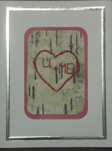 Photo: Love Card - XI embroidery on birch bark $5 contact me to order (birch bark may vary)