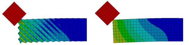 ANSYS Расчёт ударного воздействия по острому углу без применения специальных настроек для устранения эффекта «песочных часов» (слева) и с их применением (справа).