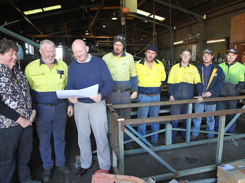 local suppliers to CSD project: Brittos Engineering proprietors Anne and Robert Britten with CSD redevelopment lead Phil Armytage and Brittos team members Darren Organ, Alan Legge, Lee Rich, Nathan Hartog-Wells and Jacob Haynes.