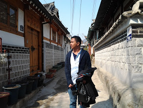 "Photo: Jerome looking for his ""the one"" in Bukchon Hanok Village."