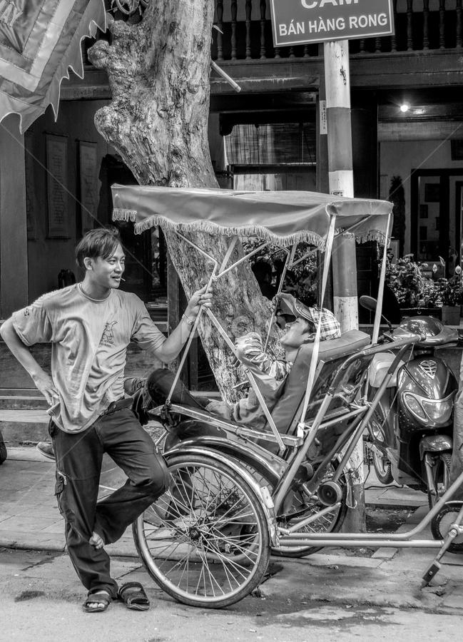 No work today by Vibeke Friis - Black & White Street & Candid ( street, hanoi, rickshaw, vietnam, standing, man, street photography,  )