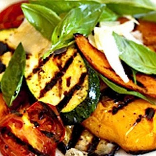 SUMMER GRILLED VEGETABLES with SHAVED PARMESAN and HONEY