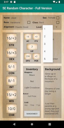 5E Random Character Generator App Report on Mobile Action - App