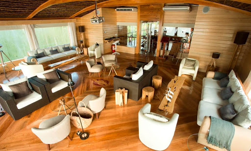 delfin-ii-main-lounge.jpg - The lounge on Delfin II, which sails the upper Amazon River.