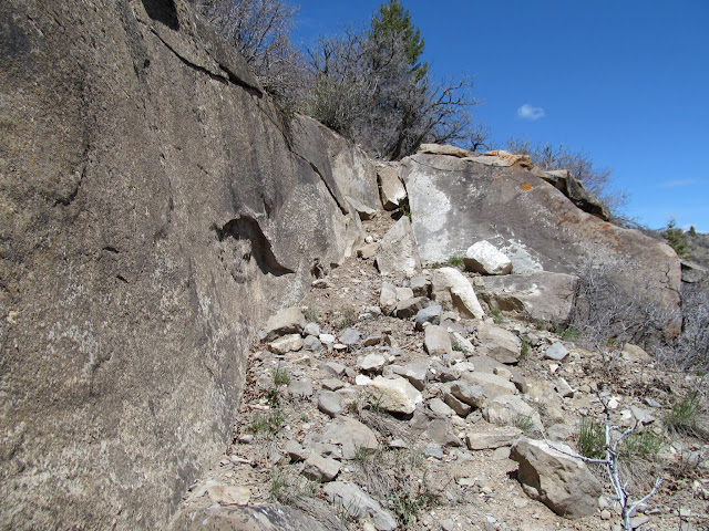 Worked section of trail over a small cliff band