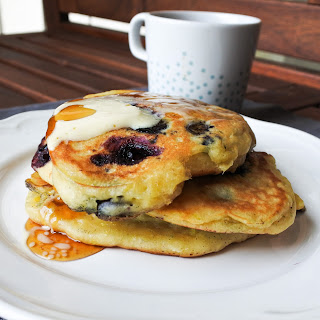Blueberry, Lemon and Ginger Pancakes.