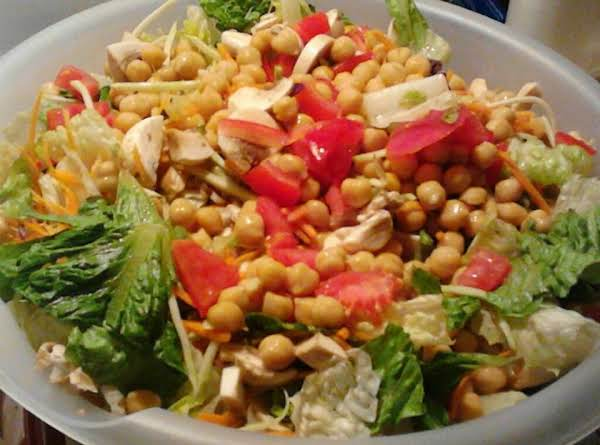 Healthy Romaine Salad With Broccoli Slaw And Other Ingredients-yummy!