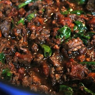 Short-Rib Ragu with Bacon and Spinach.