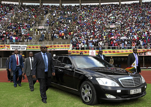 President Robert Mugabe arrives to inspect guards of honour during the 37th Independence anniversary celebrations in Harare, Zimbabwe, April 18,2017. REUTERS/Philimon Bulawayo