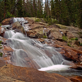Granite Falls by Brian Kerls - Landscapes Waterscapes ( silky water, rocky, waterfall, national parks, travel, blur, rocky mountain national park, landscape, granite falls, usa, hiking, alpine, blurred water, rushing water, nature, tree, conservation, camping, flowing water, environmental;, tonahutu creek, rocks, rugged, water, trekking, rocky mountains, colorado, forest, backpacking, wilderness, cascade, outdoors, falls, trees, western, rmnp, natural, evergreen, hike, outside )