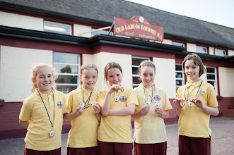 Photo: Kate Mulcahy, Abigail Carey, Ella O'Brien, Aoife Casey and Freya Lamb from Our Lady of Lourdes NS, Ballinlough, Cork.  Gold medal winners in the Munster Minor Schools Swimming in the U10 Freestyle and Medley Relays, 7th October, 2012Photo: Rob Lamb 0876838511Free Photo NO REPRO FEE