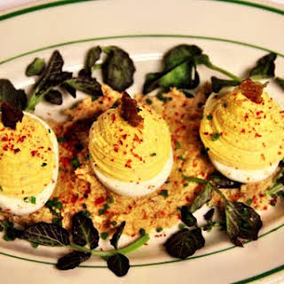 Red Rooster Deviled Eggs.