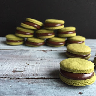 Matcha Alfajores Filled with Fudge