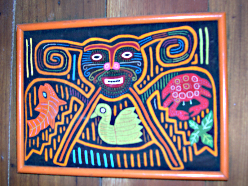 Photo: beautiful molas were hanging on the walls