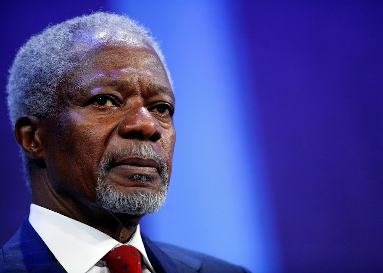 FILE PHOTO - Former United Nations Secretary General Kofi Annan participates in a panel discussion at the Clinton Global Initiative in New York, September 24, 2009.