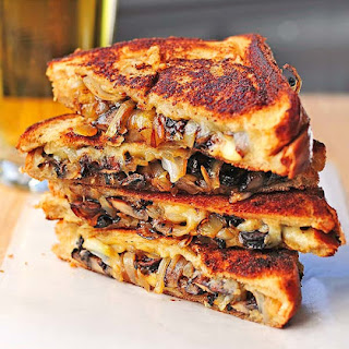 Grilled Cheese with Gouda, Roasted Mushrooms, and Onions.
