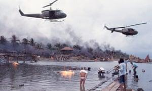 Shooting the helicopter attack on location in the Philippines