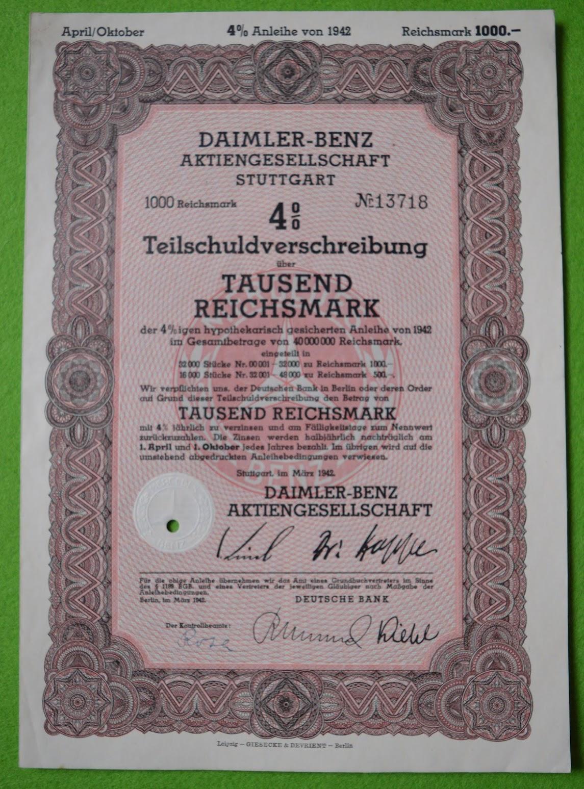 Aktie - Daimler-Benz Aktiengesellschaft - 1000 RM - 1942