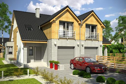 projekt Bazyli z garażem 1-st. bliźniak A-BL1