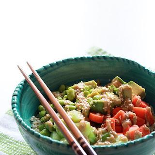Veggie Roll Rice Bowl with Creamy Sesame-Wasabi Dressing