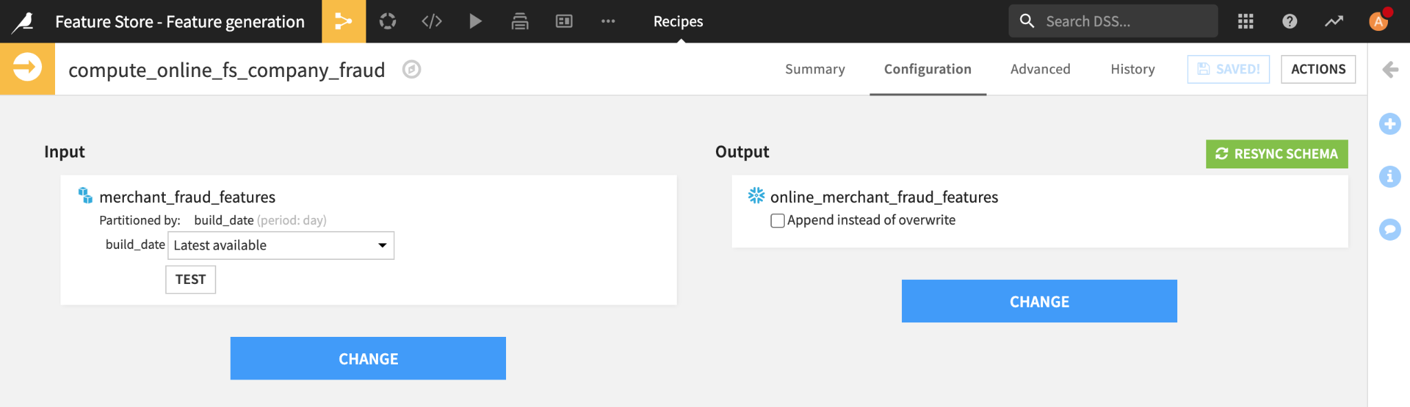 Sync recipe to propagate features to the online feature store