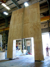 Photo: Framework for the Ford entry portal with plywood substrate applied.