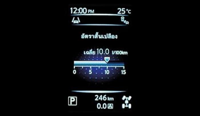 หน้าจอ TFT บอกข้อมูลการใช้รถ
