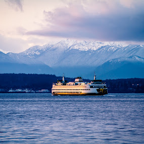 by Nolan Hauke - Landscapes Waterscapes ( water, clouds, mountain, ferry, ocean )
