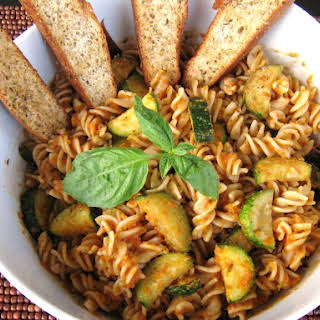 Roasted Red Pepper Sauce with Spiral Pasta.