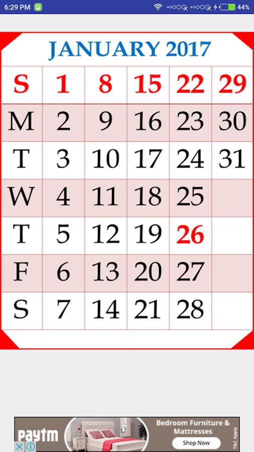 calendar 2017 and 2017