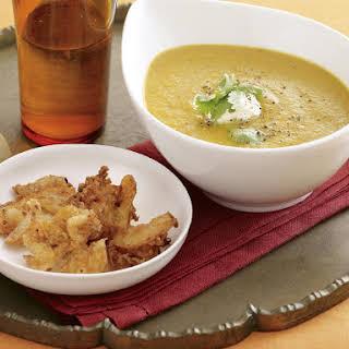 Curried Pumpkin Soup with Onion Pakoras.