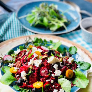 Organic Red Quinoa with Beets, Olives, Red Onion and Feta Salad Recipe