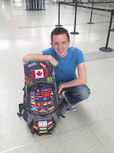 Photo: And Brock with his patched-up backpack - look at all those flags!