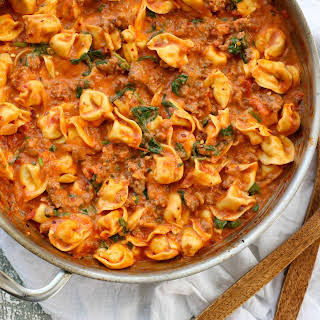 Sausage Tortellini with Spinach.