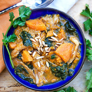 Moroccan Chicken Stew with Sweet Potatoes, Apricots and Kale.