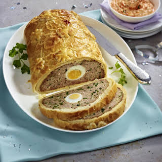 Ground Beef Wellington with Chili Dip.