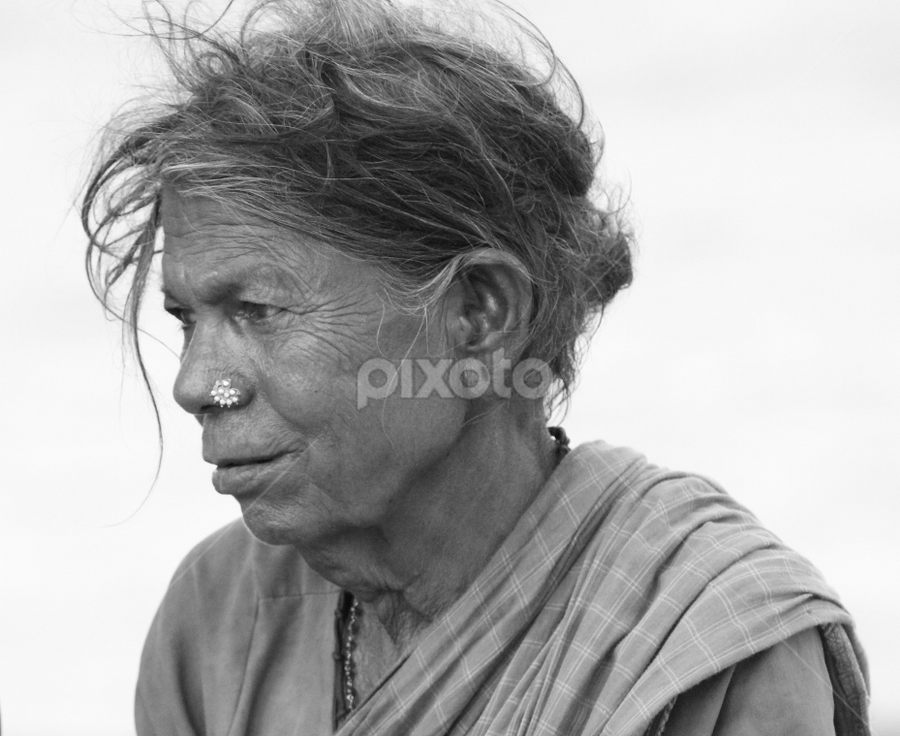 lost in thoughts by Ajith Iddya - People Portraits of Women ( wrinkles, lost in thoughts, old woman, fisher woman, indian woman,  )