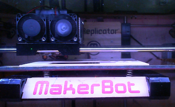 Photo: My +Makerbot Industries Replicator 1, dutifully printing the first prototype front-panel of the actual RiderScan unit that the RFID board will attach to. I love my Replicator!