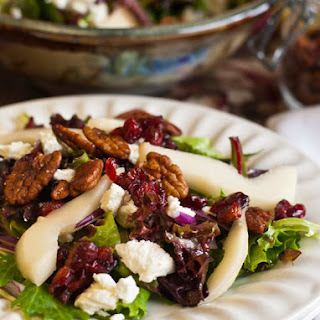 Mixed Greens with Pears, Goat Cheese, Dried Cranberries and Spiced Pecans