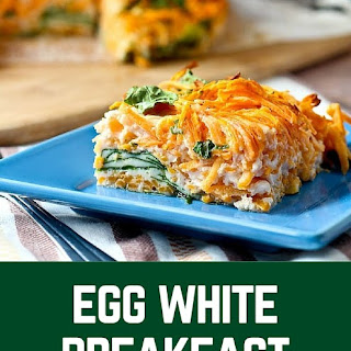 Egg White Breakfast Bake with Spiralized Sweet Potato and Spinach.