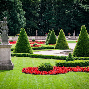 Statue and clipped trees and bushes in a classical park by Max Mayorov - City,  Street & Park  City Parks ( plant, calm, lawn, relax, ass, french, architecture, space, landscape, cone, tranquil, tree, style, shadow, conical, bush, monument, noble, flowers, classic, clip, vase, contour, vilvoorde, park, majestic, rich, green, beautiful, back, forest, belgium, relaxation, drie fonteinen, terrace, statue, triangle, classical, backlight, cultivated, gardening, summer, cut, rest, garden, design )