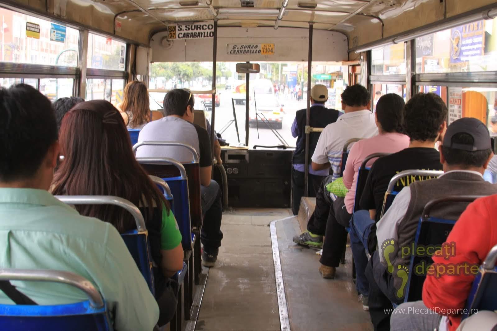 in autobus spre cartierul San Juan de Lurigancho, Lima, Peru