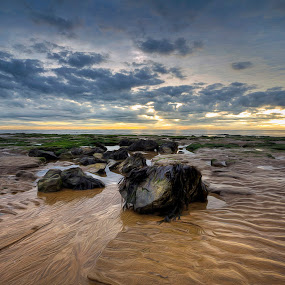 Walton on Naze Beach, early September Morning by Dave Byford - Landscapes Waterscapes ( water, sand, uk, waterscape, cloudcape, beach, seascape, landscape, davebyford-photography.co.uk, england, sky, essex, sunrise, rocks )