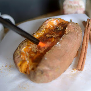 Cinnamon Roll Creme Brûlée Stuffed Sweet Potato {Paleo + Vegan }.
