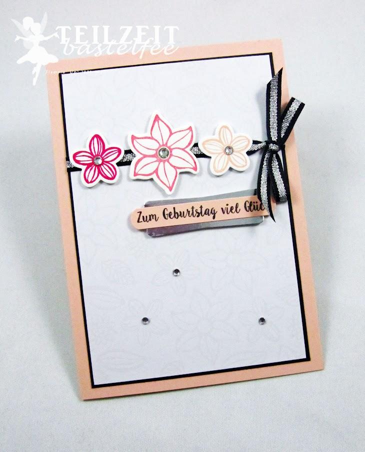 Stampin' Up! - Inkspier_me, Sketch Challenge, Flowers, Blumen, Birthday, Geburtstag, Falling Flowers, Piece of Cake, Kuchen ist die Antwort