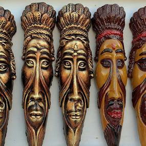 Masks by Udaybhanu Sarkar - Artistic Objects Still Life ( face, five, still life, masks, show,  )
