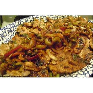 Marinated Boneless Pork Loin With Sautéed Onion & Capers.