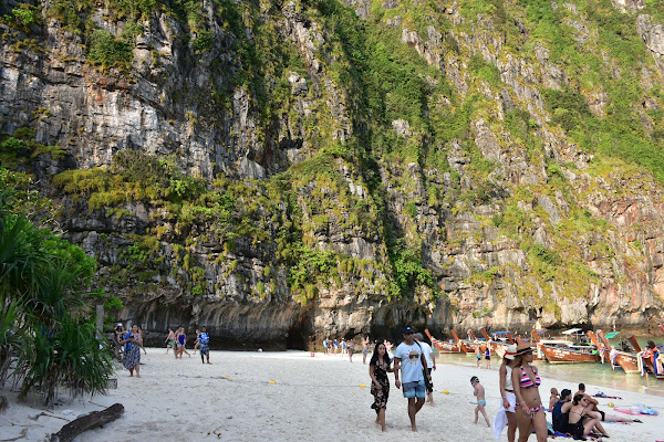 Walk down the beach on Maya Bay
