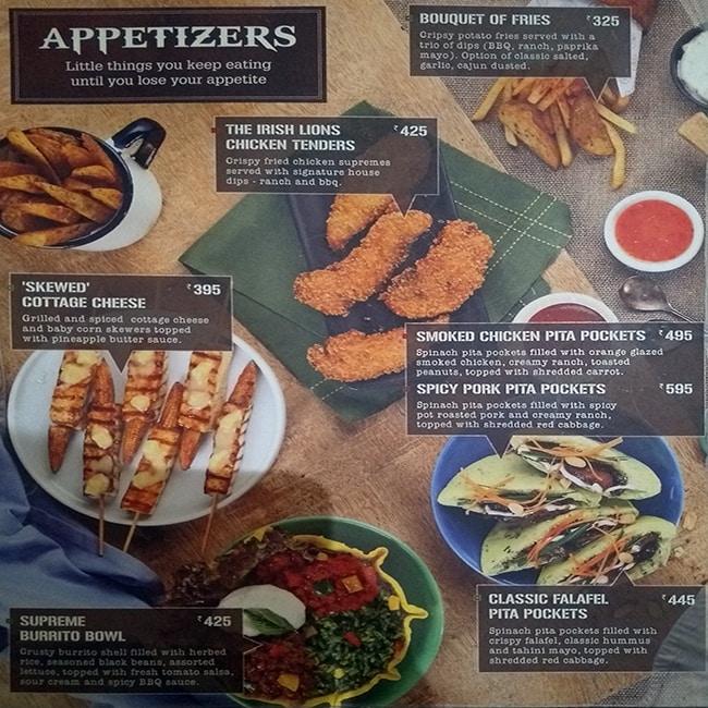 The Irish House menu 1
