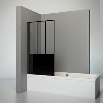 Pare-baignoire Atelier 05, 140 ou 130 cm, 1 volet, style industriel, profilé noir